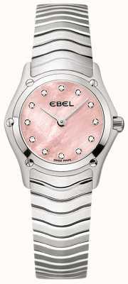 EBEL 女装经典12颗钻石镶粉色表盘不锈钢 1216279
