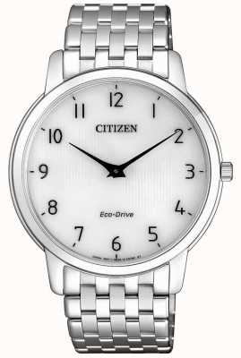 Citizen 男士细高跟超薄不锈钢白色表盘手表 AR1130-81A
