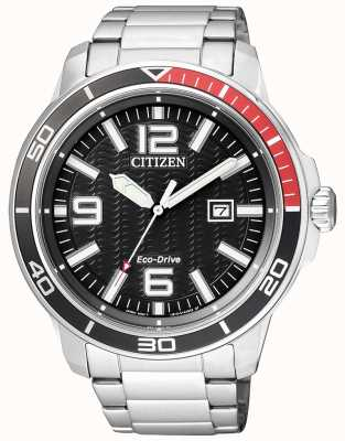 Citizen 男士生态驱动不锈钢黑色表盘 AW1520-51E