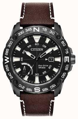 Citizen 男士生态驱动棕色真皮表带动力储备 AW7045-09E
