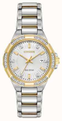 Citizen 女式riva钻石双色不锈钢腕表 EW2464-55A