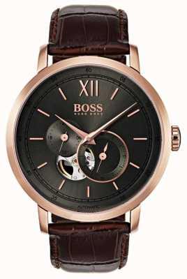 Hugo Boss 男士签名自动棕色皮革手表 1513506