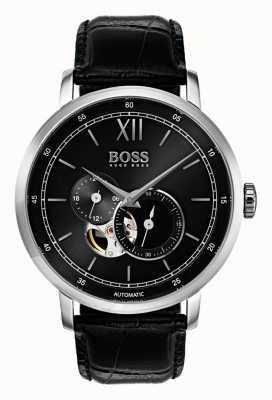 Hugo Boss 男士签名自动黑色皮革手表 1513504