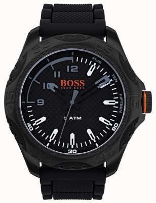Hugo Boss Orange 男士檀香木腕表采用黑色橡胶 1550032