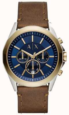 Armani Exchange 男式蓝色计时码表棕色皮革表带 AX2612