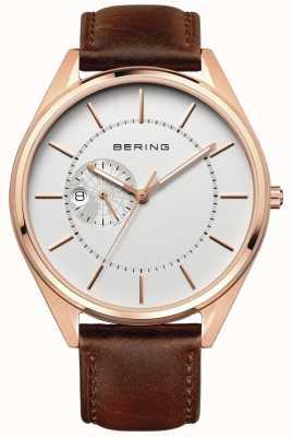 Bering 男士自动棕色皮革表带 16243-564