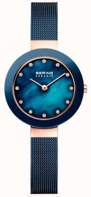 Bering 女人陶瓷蓝色米兰男士表带 11429-367