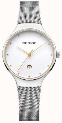 Bering 女人经典日期银米兰丝带 13326-001
