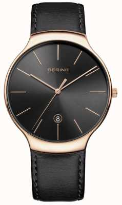 Bering 男士经典日期黑色皮质表带 13338-462