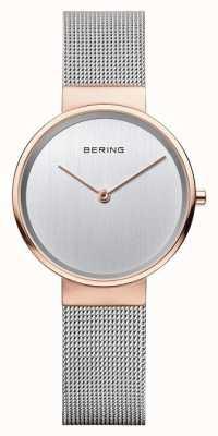 Bering 女士经典米兰银饰带玫瑰金表壳 14531-060