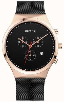 Bering 男士经典黑色计时码表黑色米兰男士表带 14740-166