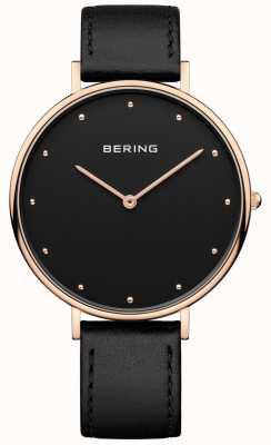 Bering 女人经典黑色皮革表带手表 14839-462