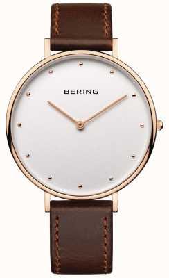 Bering 女人经典的棕色皮革表带手表 14839-564