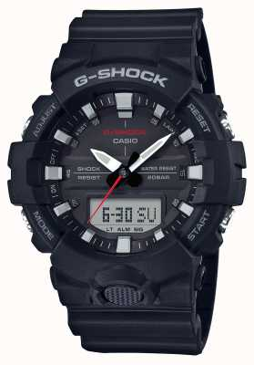 Casio 男士g-shock报警chrono橡胶表带黑色 GA-800-1AER