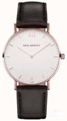 Paul Hewitt 中性水手黑色皮革表带 PH-SA-R-SM-W-2M
