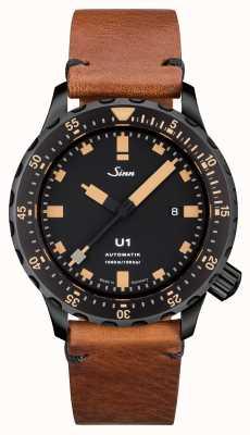 Sinn U1 se u-boat钢铁复古棕色皮革V-stitch 1010.023
