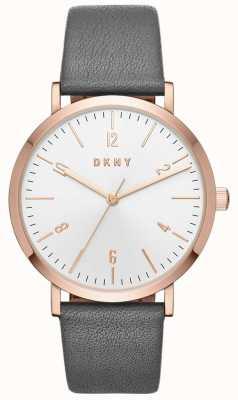 DKNY 女士minetta灰色皮革手表 NY2652