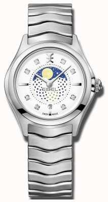 EBEL 女装波浪钻石镶嵌月相不锈钢手表 1216372