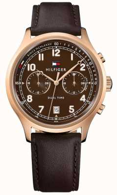 Tommy Hilfiger 男士艾默生棕色真皮表带手表 1791387