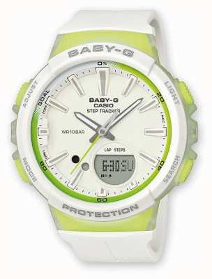 Casio 女装宝贝-g步跟踪器绿色/白色手表 BGS-100-7A2ER