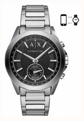 Armani Exchange 男士混合smartwatch不锈钢手镯黑色表盘 AXT1006