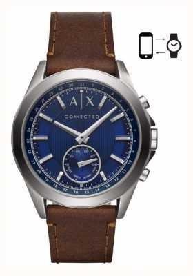 Armani Exchange 男士混合smartwatch棕色真皮表带蓝色表盘 AXT1010