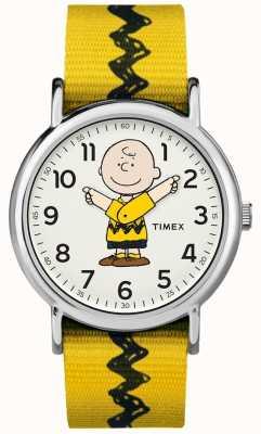 Timex 周末派查理棕色花生黄色表带 TW2R411006B