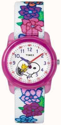 Timex 青春模拟白色表带史努比花 TW2R41700JE
