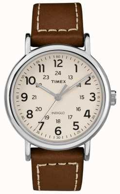 Timex 男士weekender棕色真皮表带白色表盘 TW2R42400