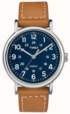 Timex 男装周末棕褐色真皮表带蓝色表盘 TW2R42500D7PF