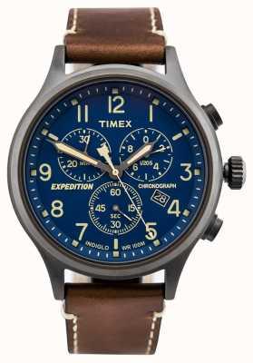 Timex 远征侦察计时码表棕色表带蓝色表盘 TW4B09000D