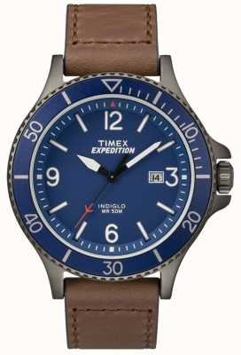 Timex Expedition ranger棕色皮革表带蓝色表盘 TW4B10700