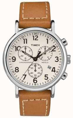 Timex 男士weekender计时码表棕色真皮表带 TW2R42700D7PF