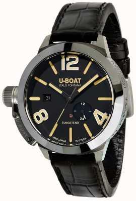 U-Boat Stratos 45 bk自动黑色皮革表带 9006