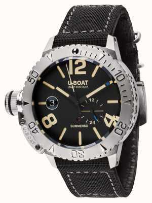 U-Boat Sommerso 46 bk自动黑色小牛皮衬里橡胶表带 9007