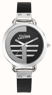 Jean Paul Gaultier 女装索引克黑色皮表带黑色表盘 JP8504315