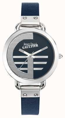 Jean Paul Gaultier 女装指数克蓝色皮革表带蓝色表盘 JP8504324