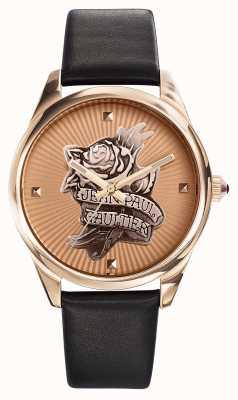 Jean Paul Gaultier 海军纹身黑色皮表带玫瑰金表盘 JP8502411