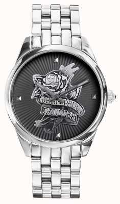Jean Paul Gaultier 海军纹身不锈钢表链黑色表盘 JP8502407