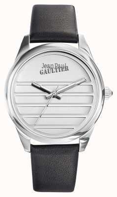 Jean Paul Gaultier 海军黑色皮革表带白色表盘 JP8502408