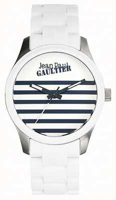 Jean Paul Gaultier Enfants terribles白色橡胶钢制手链白色表盘 JP8501120