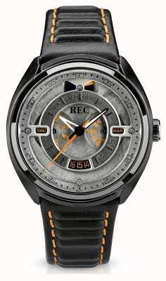 REC 保时捷自动黑色皮表带灰色表盘 p-901-03