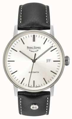 Bruno Sohnle 斯图加特大型自动44毫米银色表盘黑色皮革腕表 17-12173-247