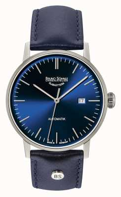 Bruno Sohnle 斯图加特大型自动44毫米蓝色皮革腕表 17-12173-341