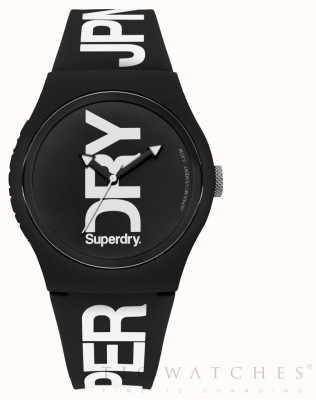 Superdry 黑色表盘黑色硅胶表带 SYG189BW