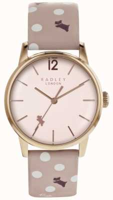 Radley 女人复古狗粉色表盘玫瑰金表壳狗狗印花表带 RY2568