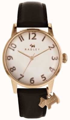 Radley 女人利物浦玫瑰金表盘的狗魅力深棕色皮革 RY2592