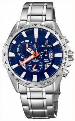 Festina 计时码表和日期显示蓝色表盘不锈钢 F6864/3