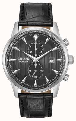 Citizen 男士corso计时码表黑色皮革表带黑色表盘 CA7000-04H