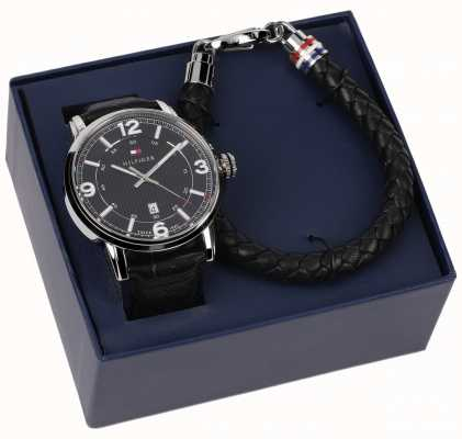 Tommy Hilfiger 男士皮革手表和手镯礼品套装 2770026
